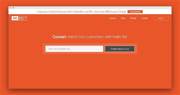 Hellobar Screenshot