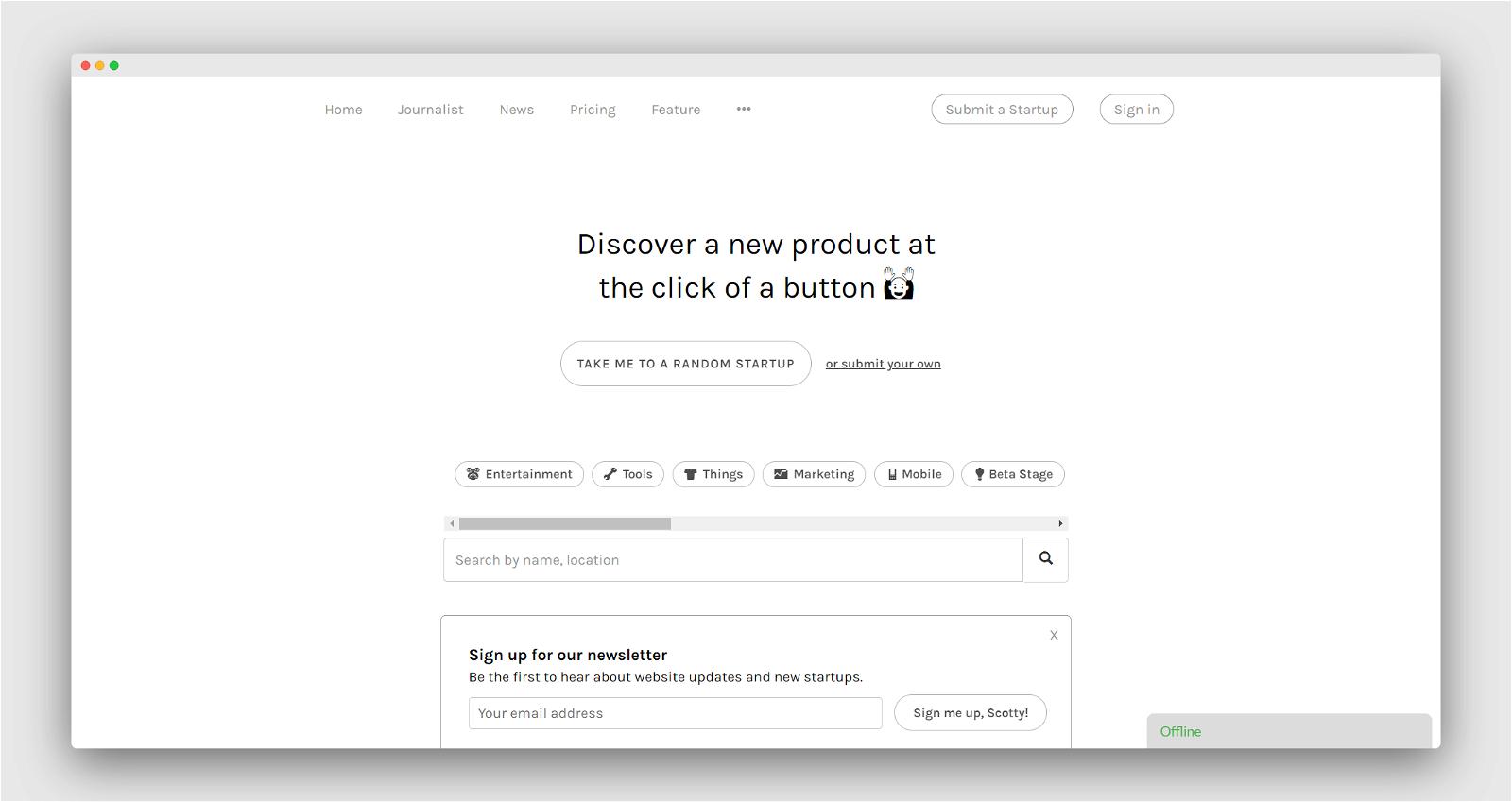 Startup Button Screenshot 1