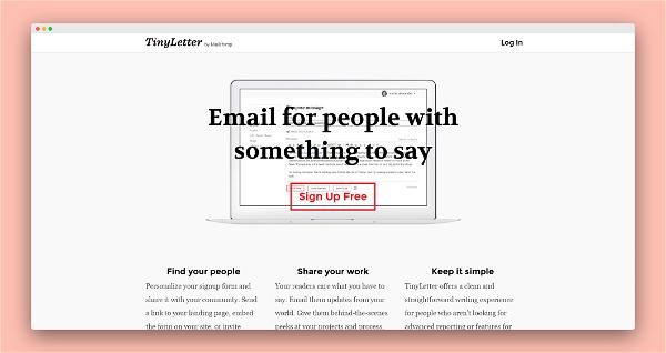 TinyLetter Screenshot